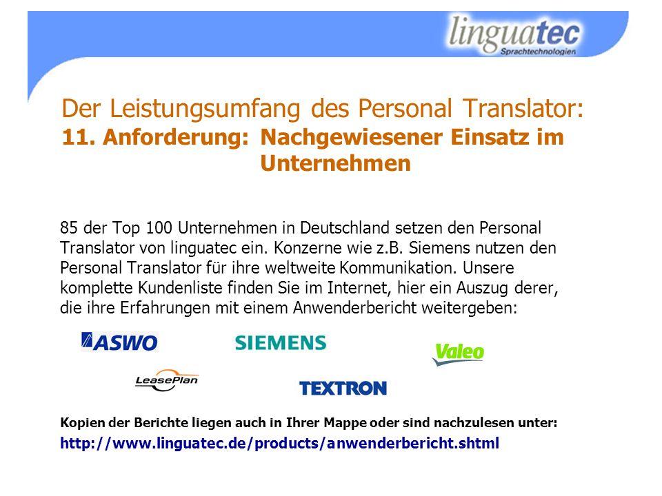 Der Leistungsumfang des Personal Translator: 11.