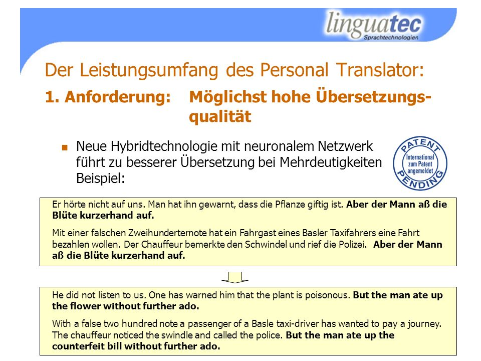 Der Leistungsumfang des Personal Translator: 1.