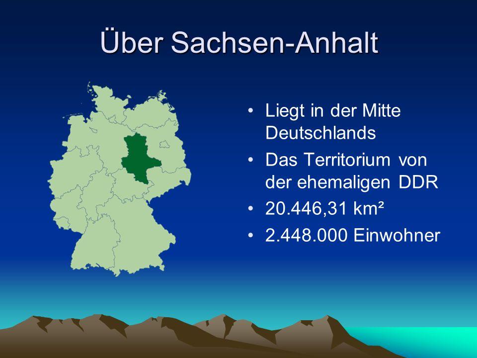 Über Sachsen-Anhalt Liegt in der Mitte Deutschlands Das Territorium von der ehemaligen DDR 20.446,31 km² 2.448.000 Einwohner