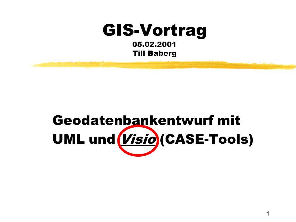 1 GIS-Vortrag 05.02.2001 Till Baberg Geodatenbankentwurf mit UML und Visio (CASE-Tools)
