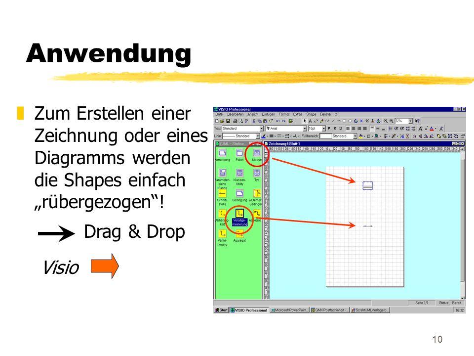 10 Anwendung zZum Erstellen einer Zeichnung oder eines Diagramms werden die Shapes einfach rübergezogen.
