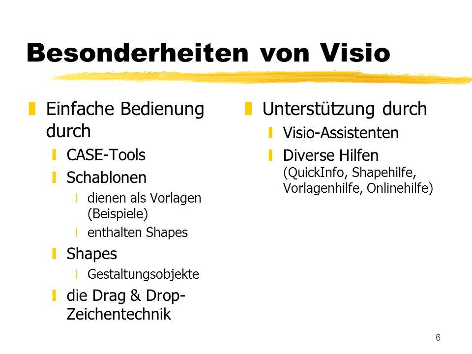 17 Das Erstellen eines Diagramms zZur Veran- schaulichung: yVisio-Vorführung Aufgabe