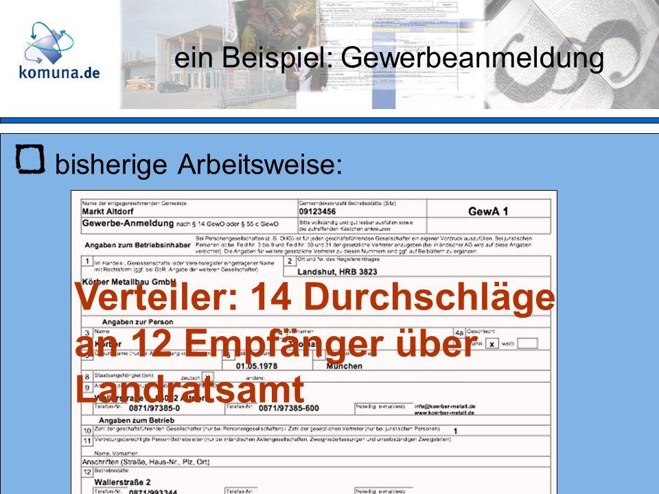 ein Beispiel: Gewerbeanmeldung bisherige Arbeitsweise: Verteiler: 14 Durchschläge an 12 Empfänger über Landratsamt