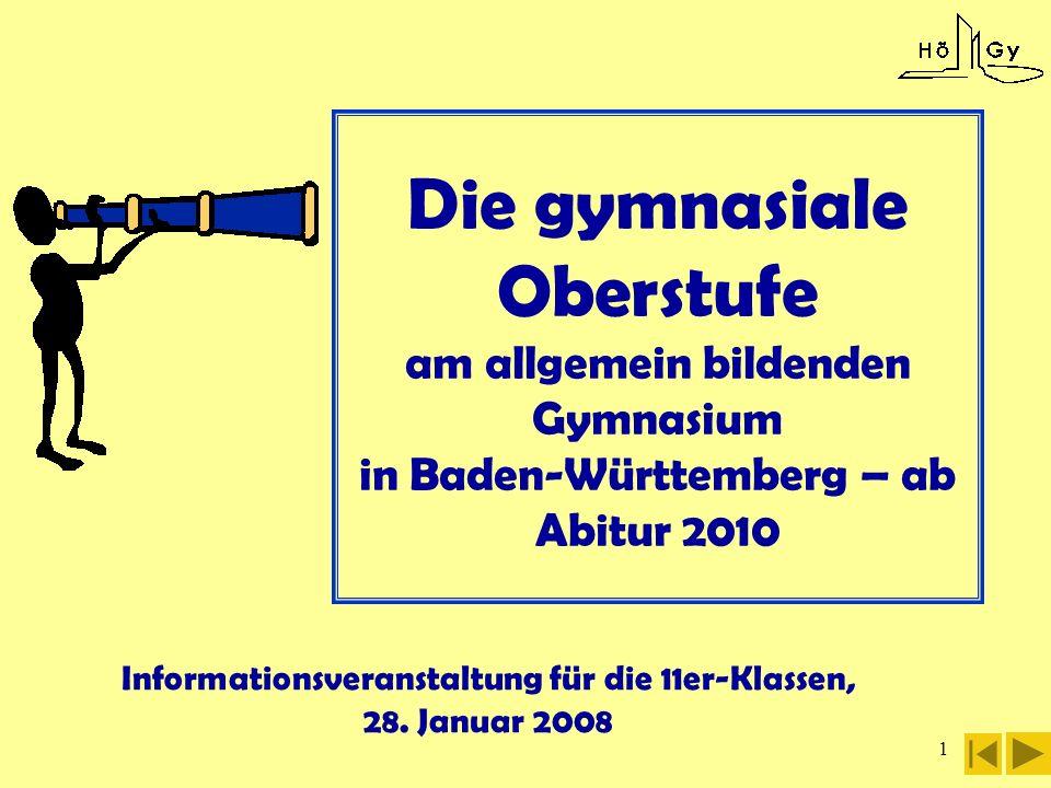 1 Die gymnasiale Oberstufe am allgemein bildenden Gymnasium in Baden-Württemberg – ab Abitur 2010 Informationsveranstaltung für die 11er-Klassen, 28.
