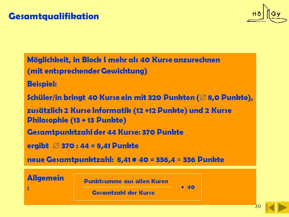 30 Gesamtqualifikation Möglichkeit, in Block I mehr als 40 Kurse anzurechnen (mit entsprechender Gewichtung) Beispiel: Schüler/in bringt 40 Kurse ein
