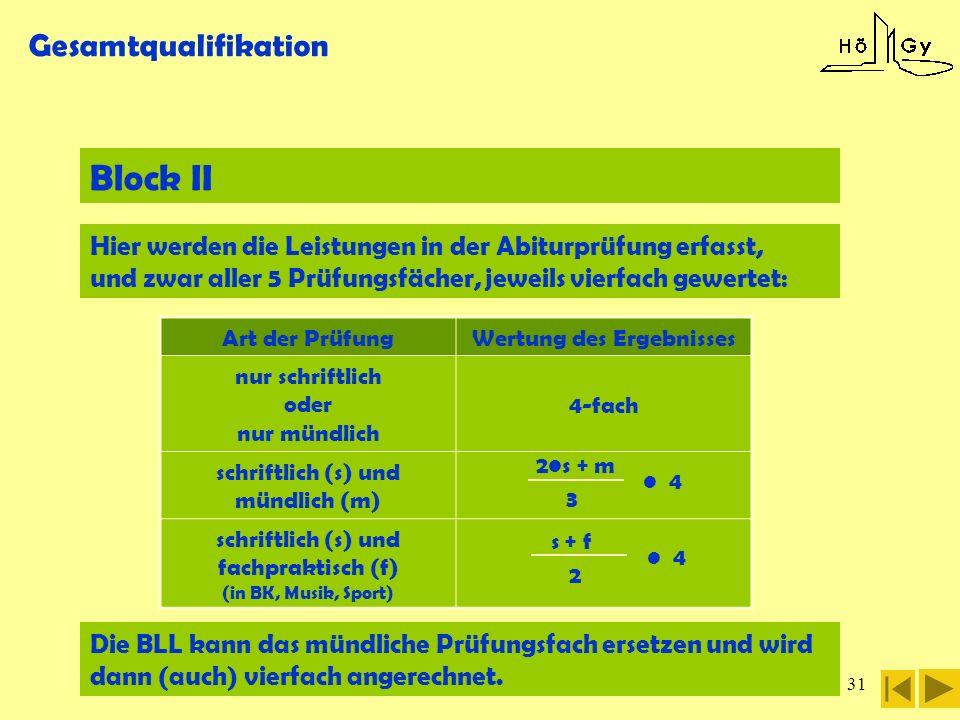31 Gesamtqualifikation Block II Art der PrüfungWertung des Ergebnisses nur schriftlich oder nur mündlich 4-fach schriftlich (s) und mündlich (m) schri