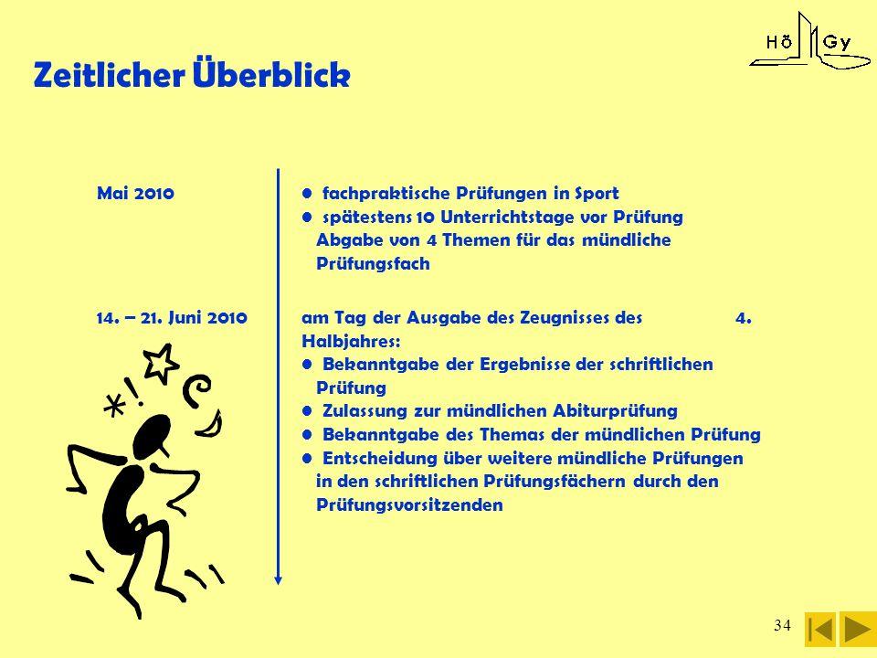 34 14. – 21. Juni 2010 Mai 2010 fachpraktische Prüfungen in Sport spätestens 10 Unterrichtstage vor Prüfung Abgabe von 4 Themen für das mündliche Prüf