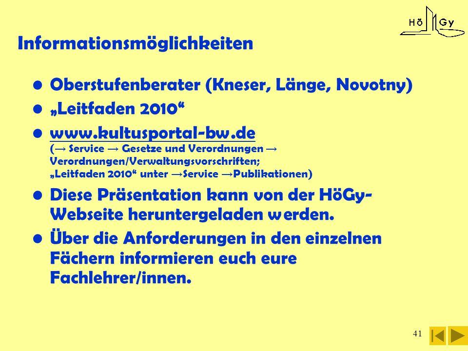 41 Informationsmöglichkeiten Oberstufenberater (Kneser, Länge, Novotny) Leitfaden 2010 www.kultusportal-bw.de ( Service Gesetze und Verordnungen Veror