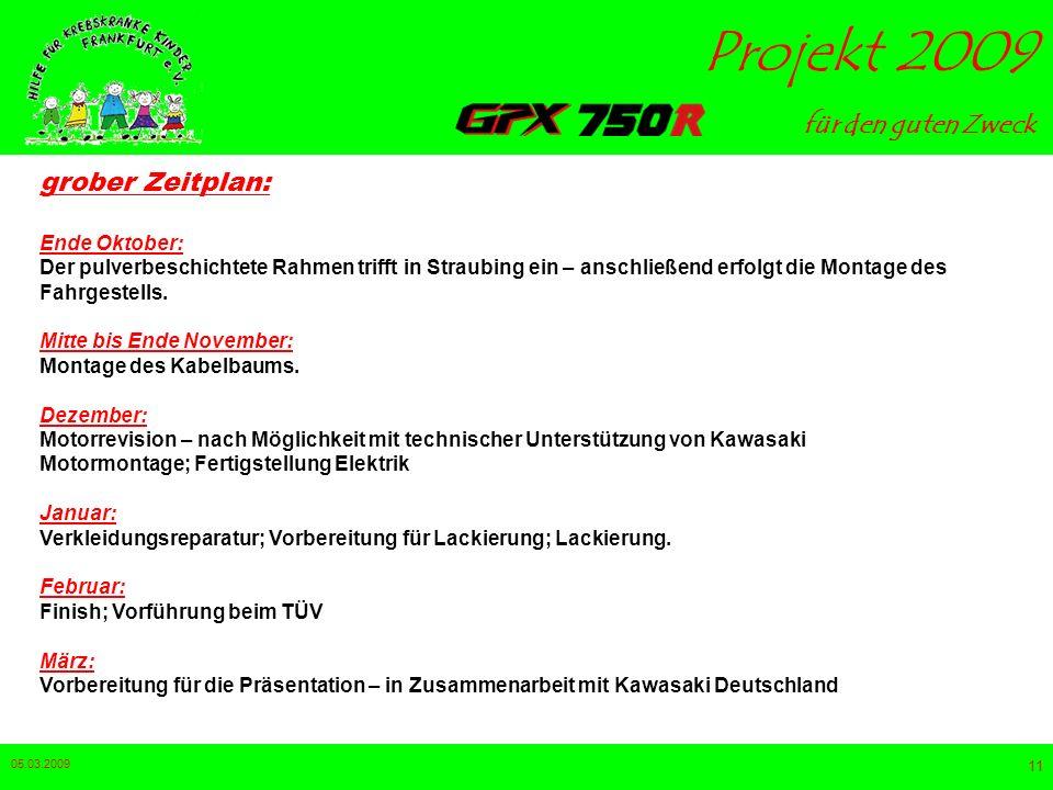 für den guten Zweck Projekt 2009 05.03.2009 10 Was ist das Projekt 2009 ? Eine GPX 750R soll über den Winter bis Ende Februar 2009 neu aufgebaut und f