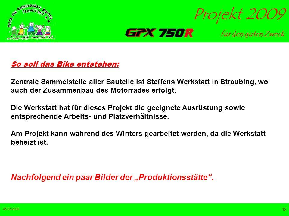 für den guten Zweck Projekt 2009 05.03.2009 11 grober Zeitplan: Ende Oktober: Der pulverbeschichtete Rahmen trifft in Straubing ein – anschließend erf