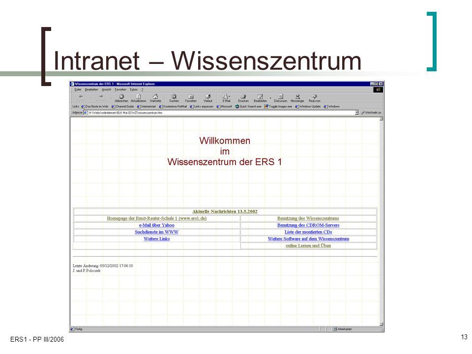ERS1 - PP III/2006 13 Intranet – Wissenszentrum