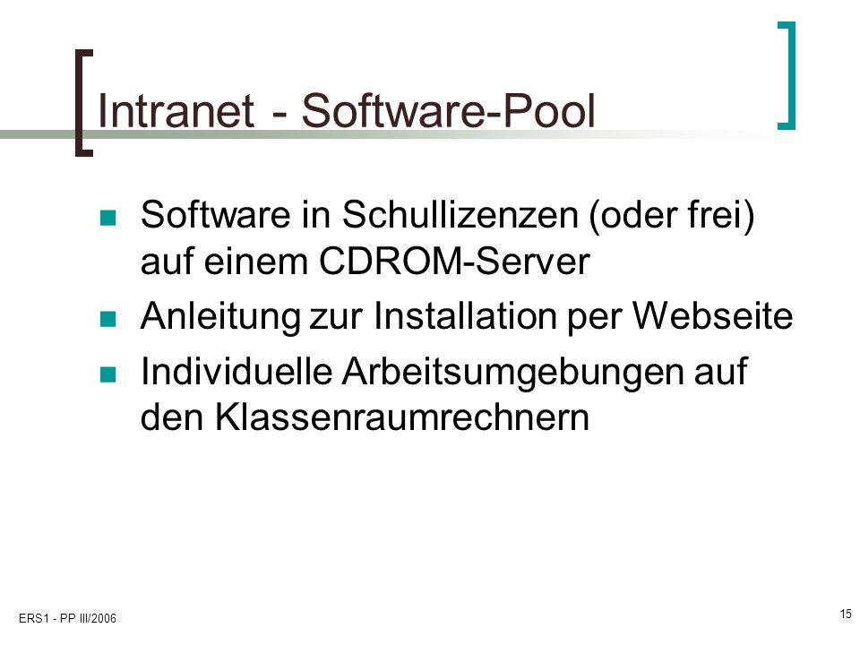 ERS1 - PP III/2006 15 Intranet - Software-Pool Software in Schullizenzen (oder frei) auf einem CDROM-Server Anleitung zur Installation per Webseite Individuelle Arbeitsumgebungen auf den Klassenraumrechnern