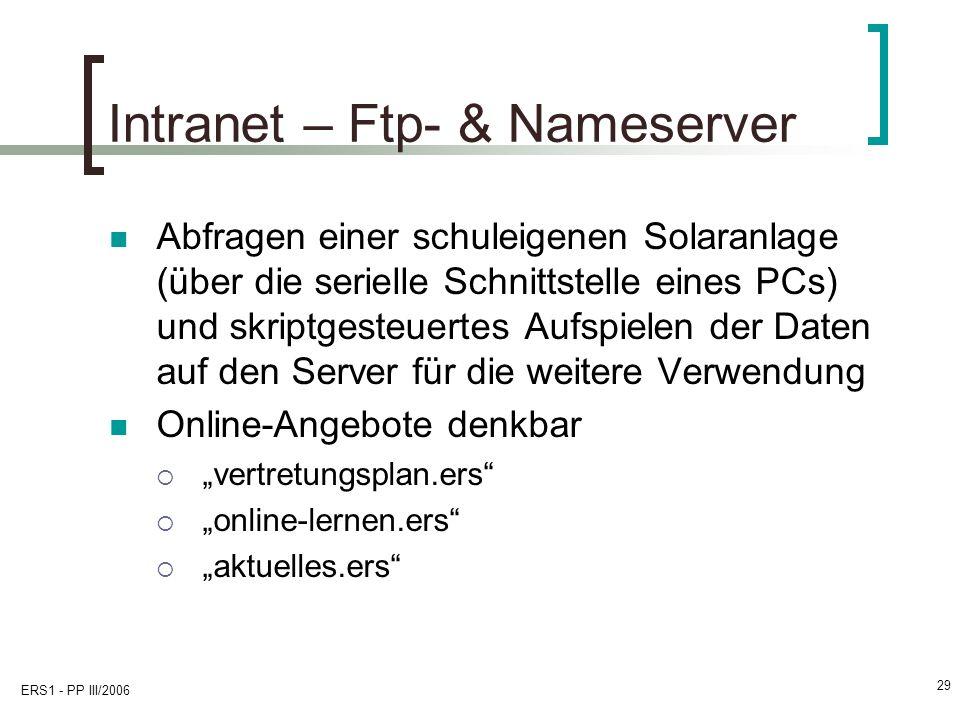 ERS1 - PP III/2006 29 Intranet – Ftp- & Nameserver Abfragen einer schuleigenen Solaranlage (über die serielle Schnittstelle eines PCs) und skriptgeste