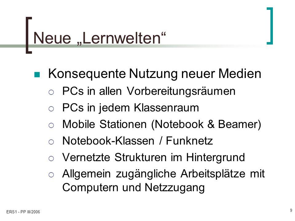 ERS1 - PP III/2006 9 Neue Lernwelten Konsequente Nutzung neuer Medien PCs in allen Vorbereitungsräumen PCs in jedem Klassenraum Mobile Stationen (Note