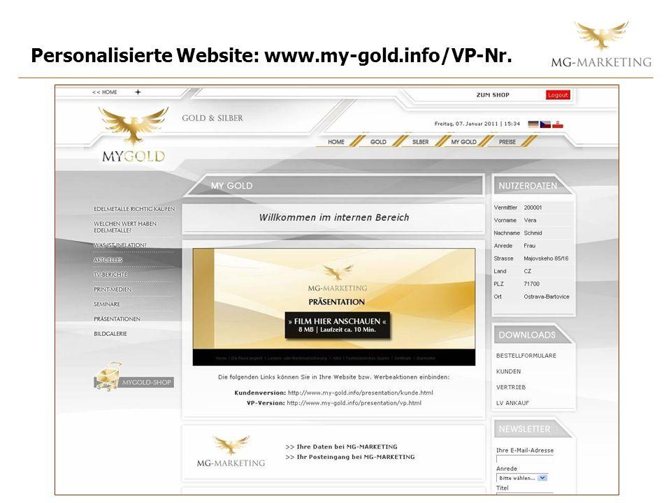 Personalisierte Website: www.my-gold.info/VP-Nr.
