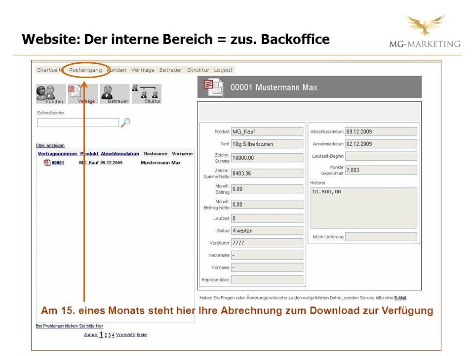 Website: Der interne Bereich = zus. Backoffice Am 15. eines Monats steht hier Ihre Abrechnung zum Download zur Verfügung