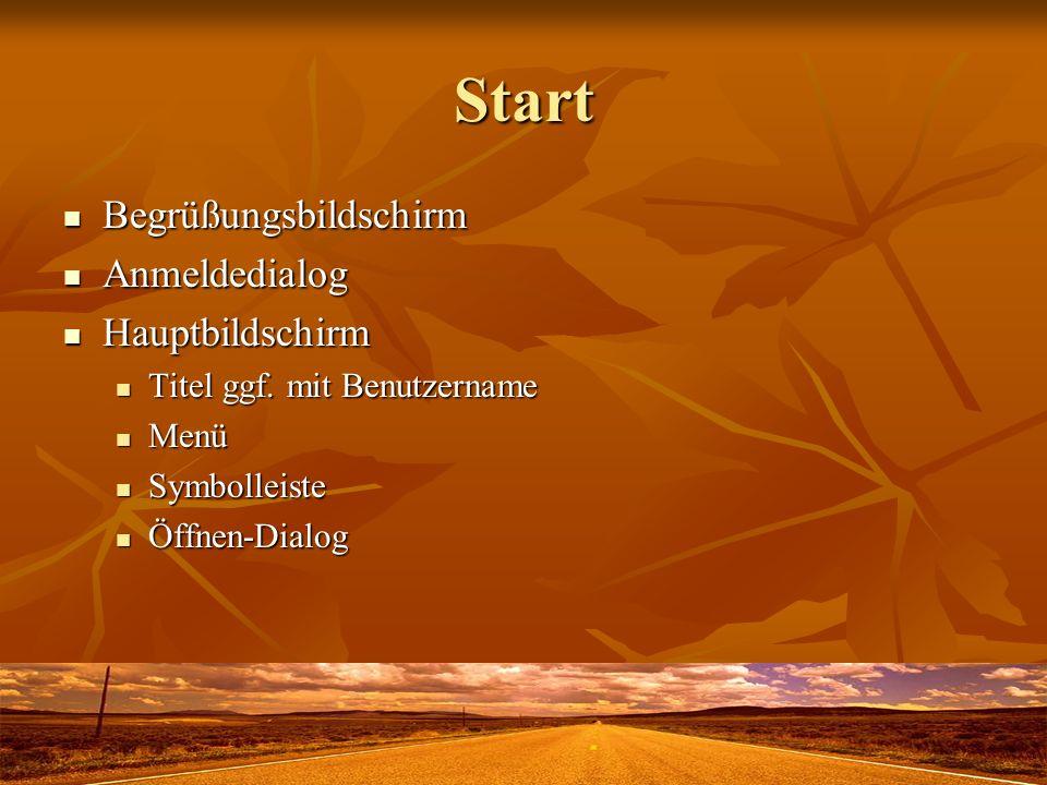 Start Begrüßungsbildschirm Begrüßungsbildschirm Anmeldedialog Anmeldedialog Hauptbildschirm Hauptbildschirm Titel ggf. mit Benutzername Titel ggf. mit