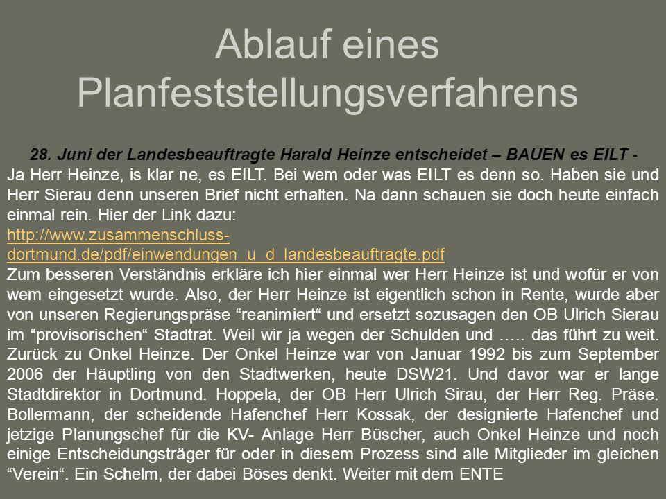 Ablauf eines Planfeststellungsverfahrens 28. Juni der Landesbeauftragte Harald Heinze entscheidet – BAUEN es EILT - Ja Herr Heinze, is klar ne, es EIL