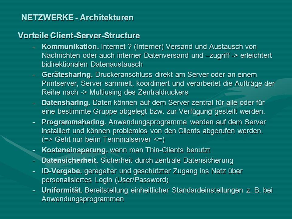 NETZWERKE - Architekturen Vorteile Client-Server-Structure -Kommunikation. Internet ? (Interner) Versand und Austausch von Nachrichten oder auch inter