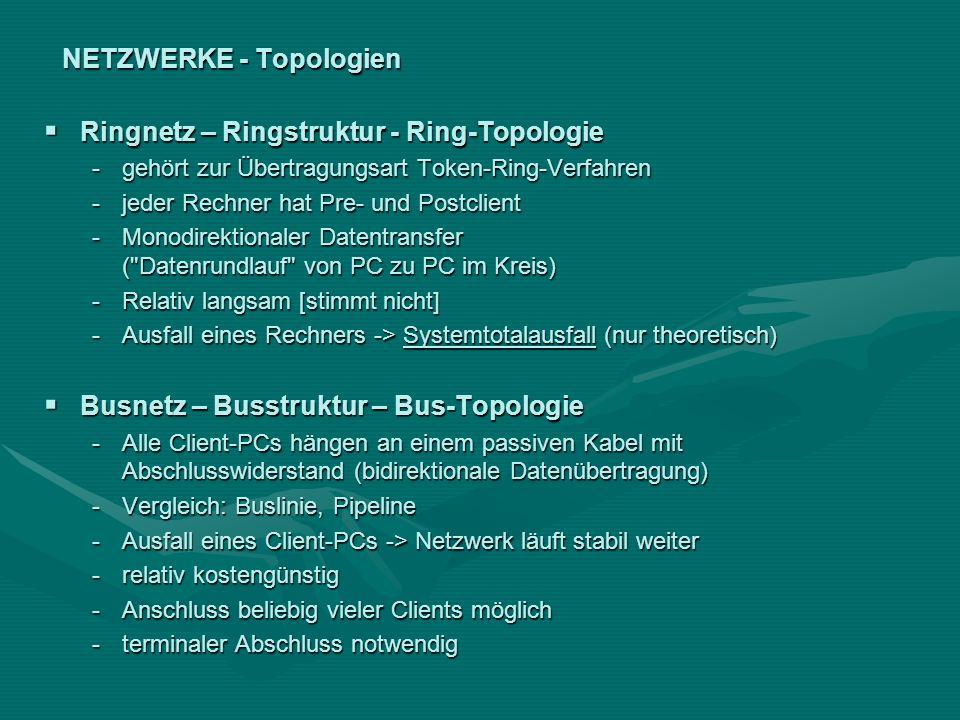 NETZWERKE - Topologien Ringnetz – Ringstruktur - Ring-Topologie Ringnetz – Ringstruktur - Ring-Topologie -gehört zur Übertragungsart Token-Ring-Verfah
