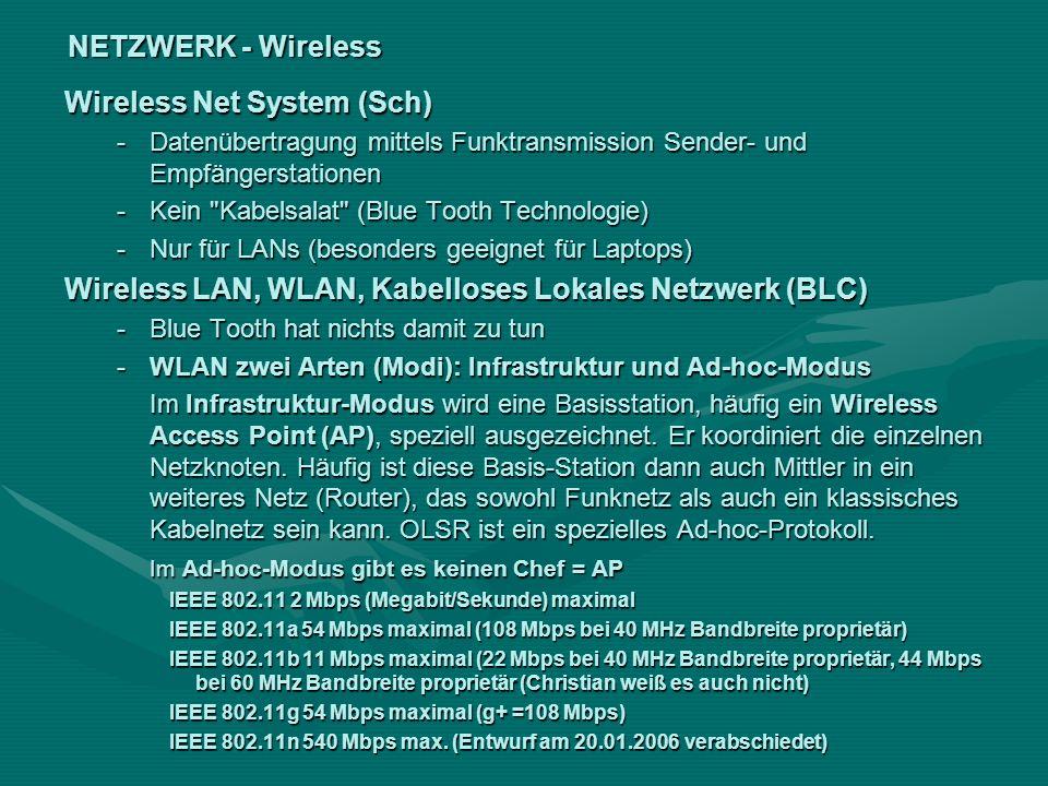NETZWERK - Wireless Wireless Net System (Sch) -Datenübertragung mittels Funktransmission Sender- und Empfängerstationen -Kein