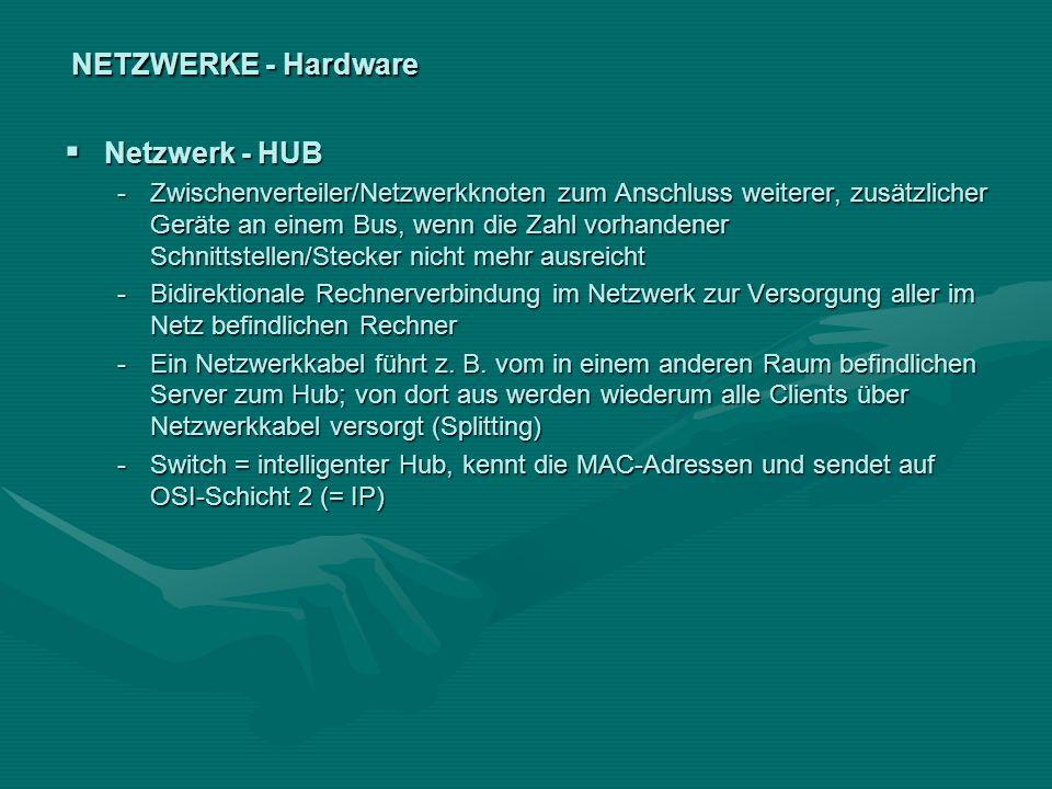 NETZWERKE - Hardware Netzwerk - HUB Netzwerk - HUB -Zwischenverteiler/Netzwerkknoten zum Anschluss weiterer, zusätzlicher Geräte an einem Bus, wenn di