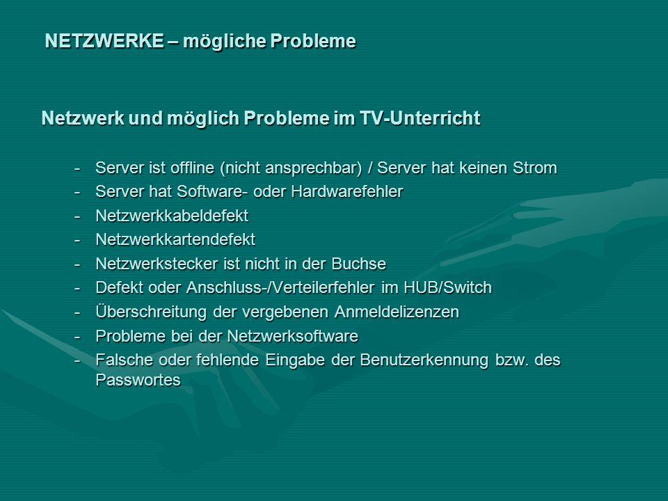 NETZWERKE – mögliche Probleme Netzwerk und möglich Probleme im TV-Unterricht -Server ist offline (nicht ansprechbar) / Server hat keinen Strom -Server