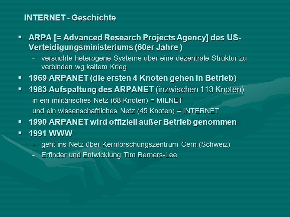 INTERNET - Geschichte ARPA [= Advanced Research Projects Agency] des US- Verteidigungsministeriums (60er Jahre ) ARPA [= Advanced Research Projects Ag