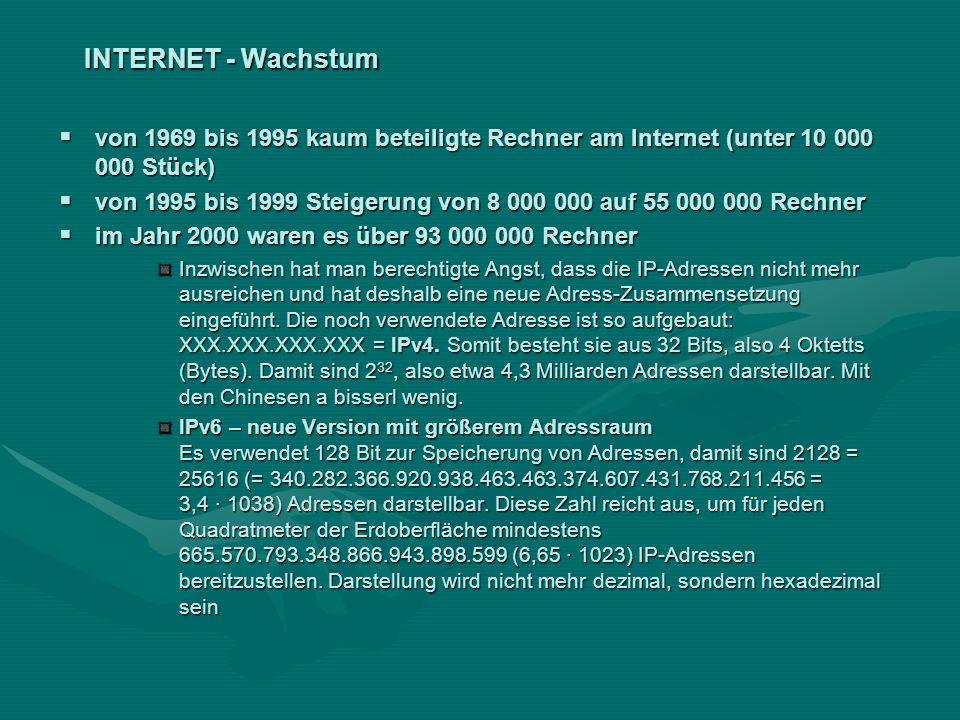 INTERNET - Wachstum von 1969 bis 1995 kaum beteiligte Rechner am Internet (unter 10 000 000 Stück) von 1969 bis 1995 kaum beteiligte Rechner am Intern