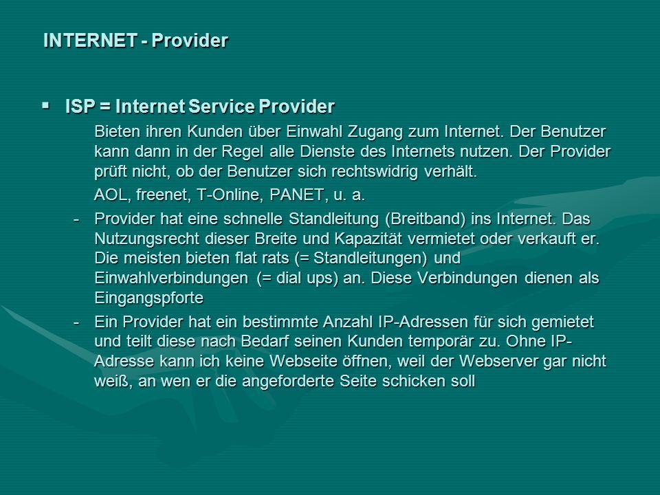 INTERNET - Provider ISP = Internet Service Provider ISP = Internet Service Provider Bieten ihren Kunden über Einwahl Zugang zum Internet. Der Benutzer