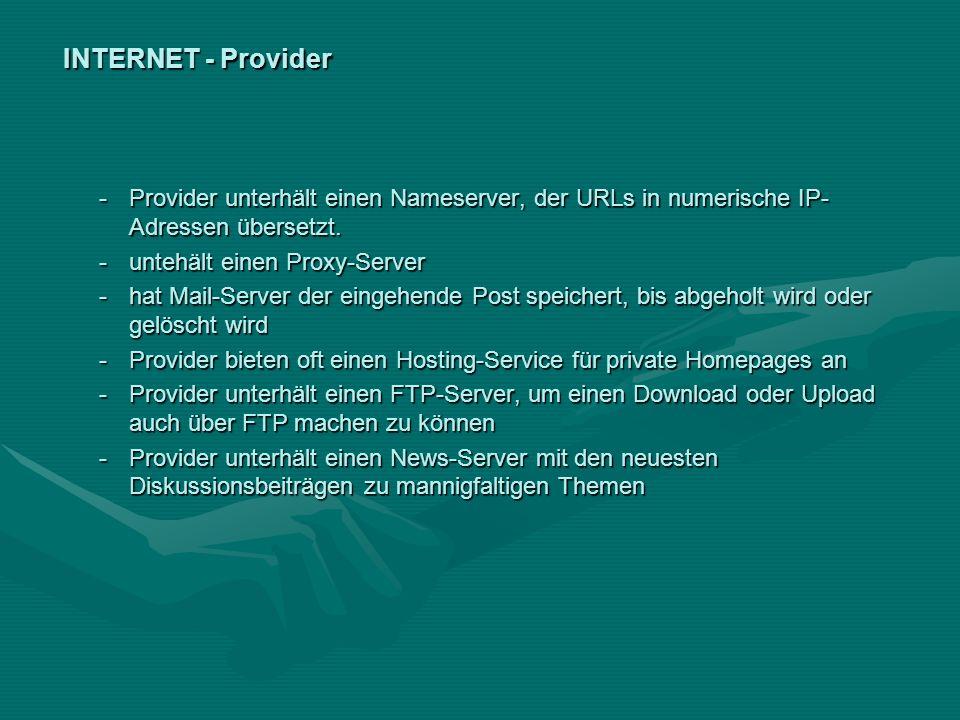 INTERNET - Provider -Provider unterhält einen Nameserver, der URLs in numerische IP- Adressen übersetzt. -untehält einen Proxy-Server -hat Mail-Server