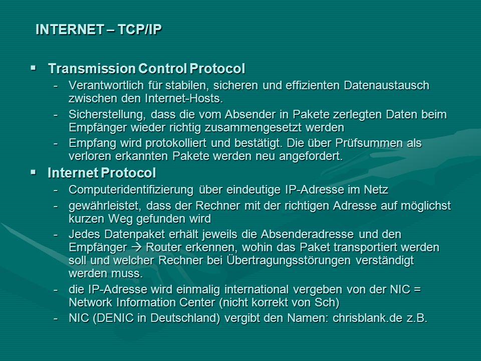 INTERNET – TCP/IP Transmission Control Protocol Transmission Control Protocol -Verantwortlich für stabilen, sicheren und effizienten Datenaustausch zw