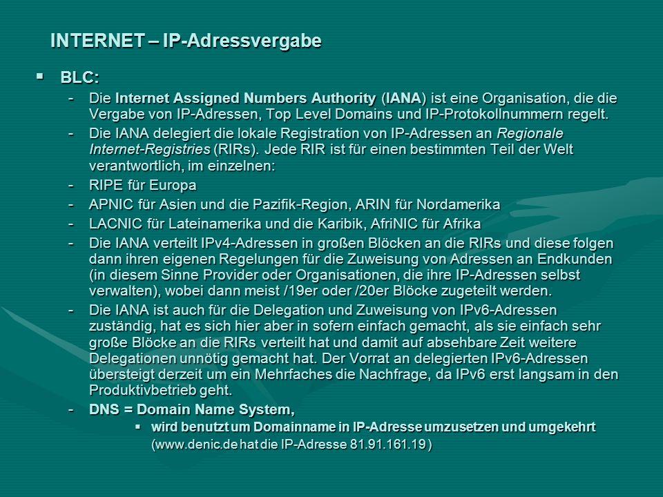 INTERNET – IP-Adressvergabe BLC: BLC: -Die Internet Assigned Numbers Authority (IANA) ist eine Organisation, die die Vergabe von IP-Adressen, Top Leve
