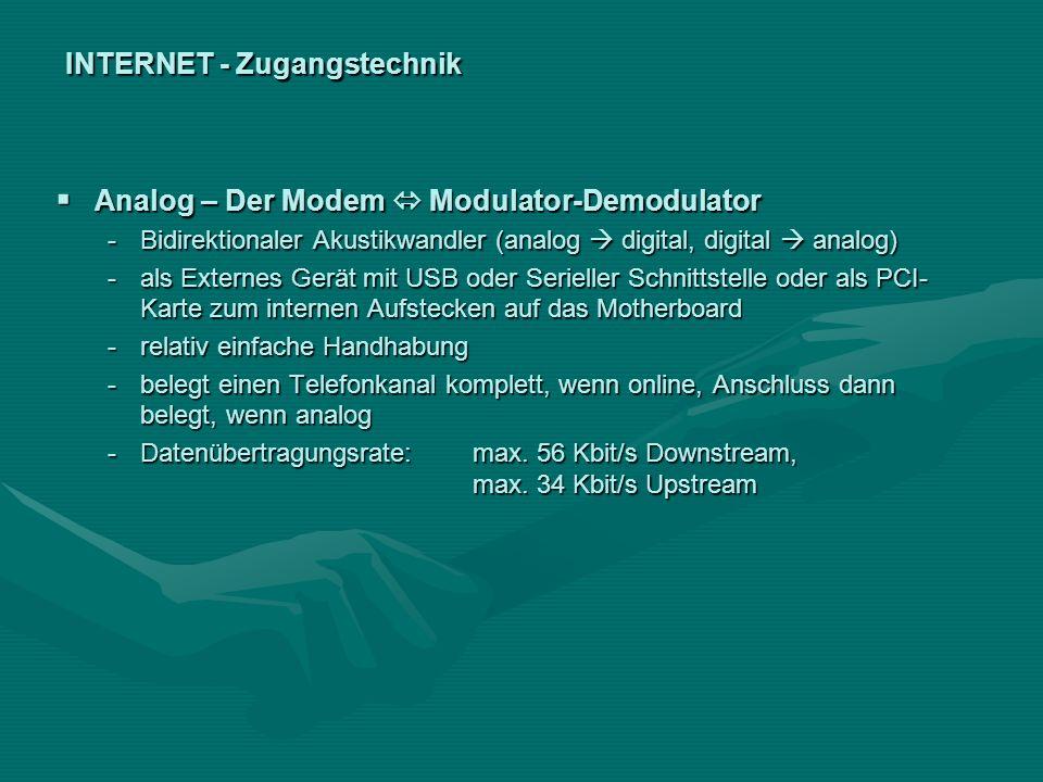 INTERNET - Zugangstechnik Analog – Der Modem Modulator-Demodulator Analog – Der Modem Modulator-Demodulator -Bidirektionaler Akustikwandler (analog di