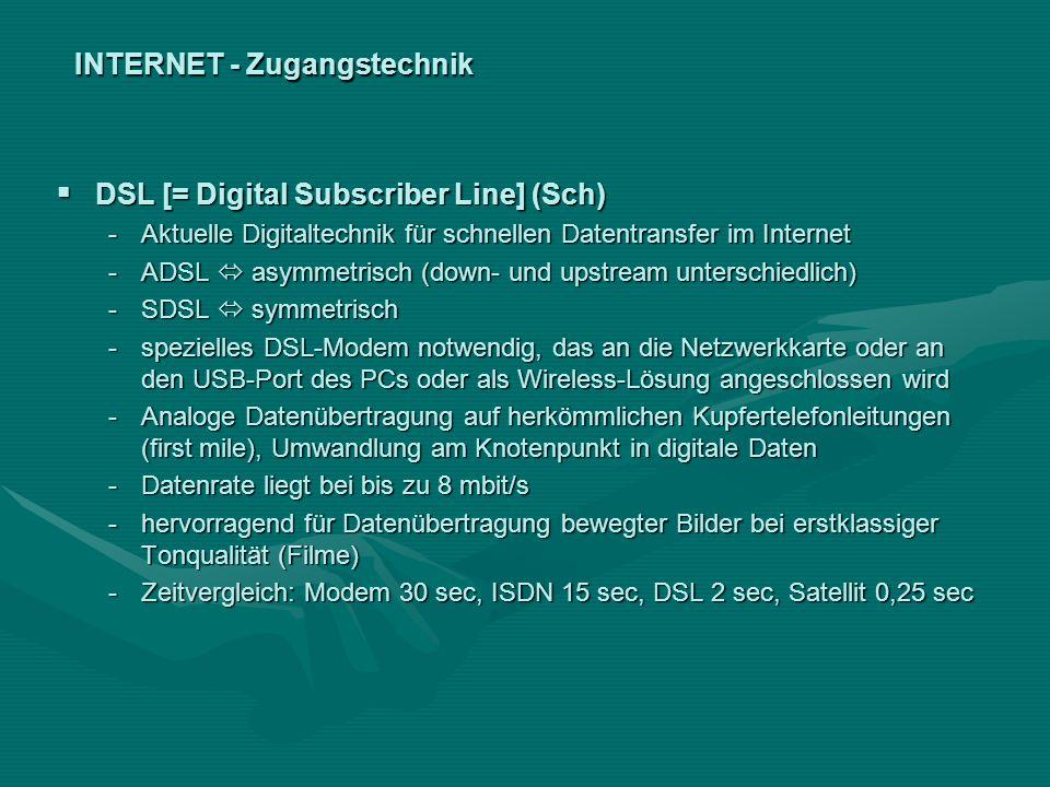 INTERNET - Zugangstechnik DSL [= Digital Subscriber Line] (Sch) DSL [= Digital Subscriber Line] (Sch) -Aktuelle Digitaltechnik für schnellen Datentran