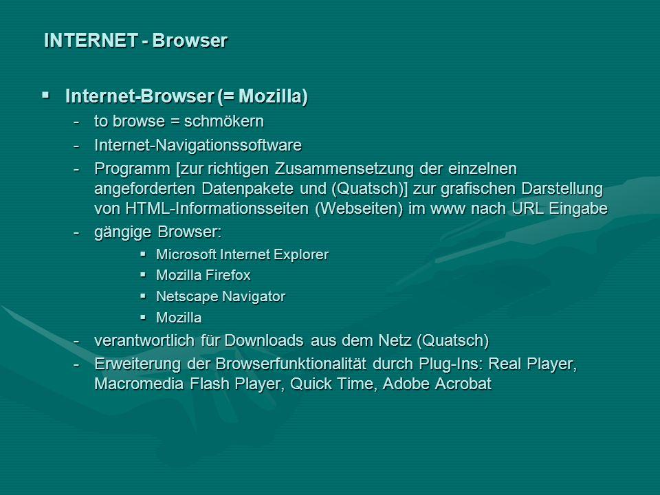 INTERNET - Browser Internet-Browser (= Mozilla) Internet-Browser (= Mozilla) -to browse = schmökern -Internet-Navigationssoftware -Programm [zur richt