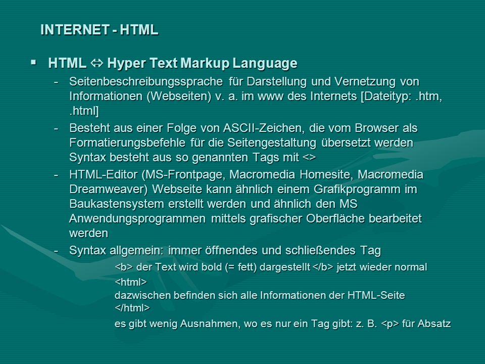 INTERNET - HTML HTML Hyper Text Markup Language HTML Hyper Text Markup Language -Seitenbeschreibungssprache für Darstellung und Vernetzung von Informa