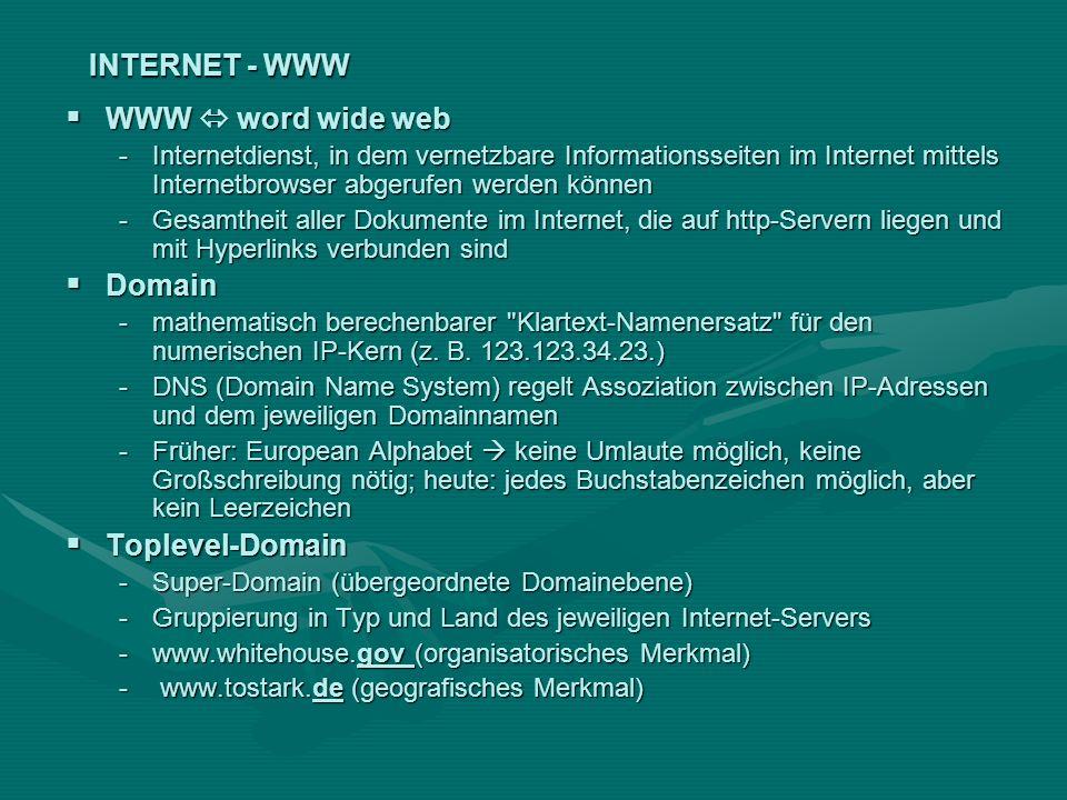 INTERNET - WWW WWW word wide web WWW word wide web -Internetdienst, in dem vernetzbare Informationsseiten im Internet mittels Internetbrowser abgerufe