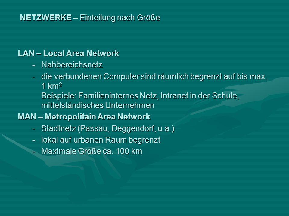 NETZWERKE – Einteilung nach Größe LAN – Local Area Network -Nahbereichsnetz -die verbundenen Computer sind räumlich begrenzt auf bis max. 1 km 2 Beisp
