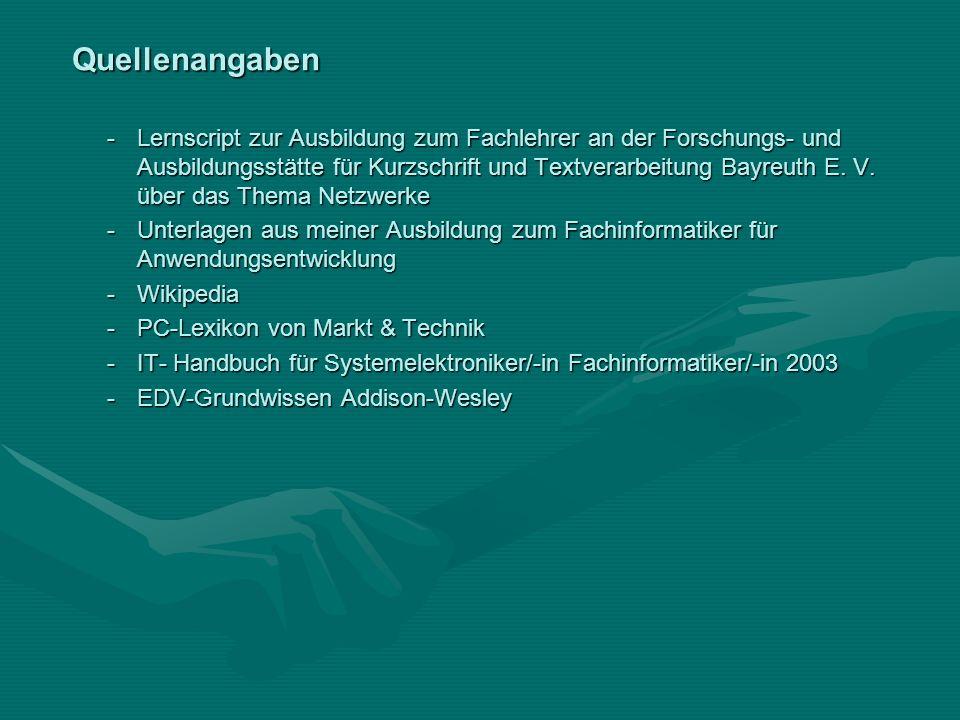 Quellenangaben -Lernscript zur Ausbildung zum Fachlehrer an der Forschungs- und Ausbildungsstätte für Kurzschrift und Textverarbeitung Bayreuth E. V.