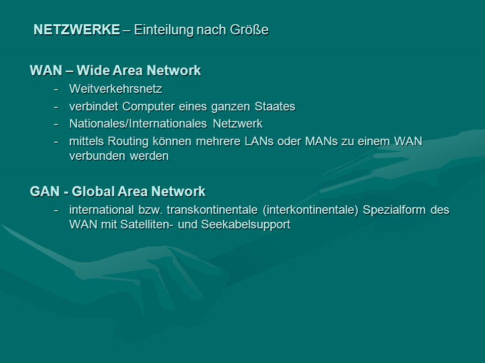 NETZWERKE – Einteilung nach Größe WAN – Wide Area Network -Weitverkehrsnetz -verbindet Computer eines ganzen Staates -Nationales/Internationales Netzw