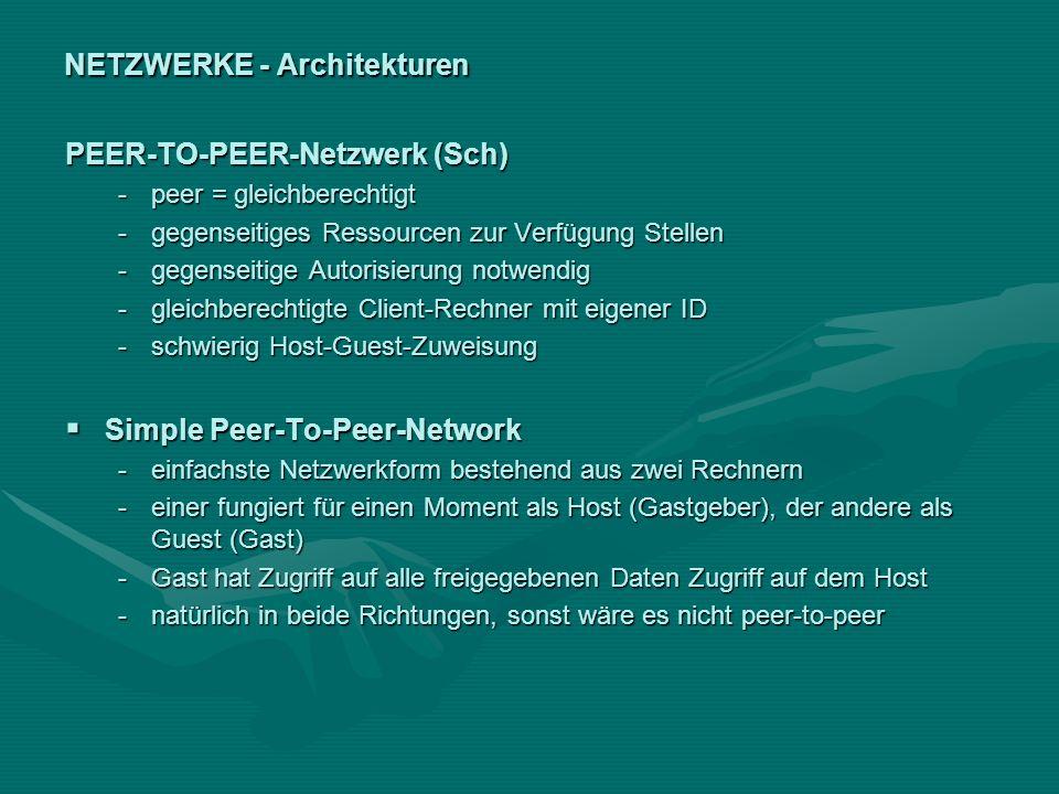 NETZWERKE - Architekturen PEER-TO-PEER-Netzwerk (Sch) -peer = gleichberechtigt -gegenseitiges Ressourcen zur Verfügung Stellen -gegenseitige Autorisie