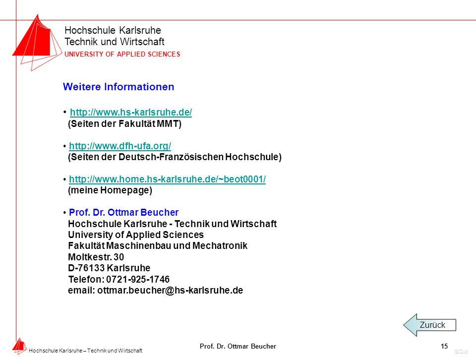 Hochschule Karlsruhe Technik und Wirtschaft UNIVERSITY OF APPLIED SCIENCES Hochschule Karlsruhe – Technik und Wirtschaft Prof.