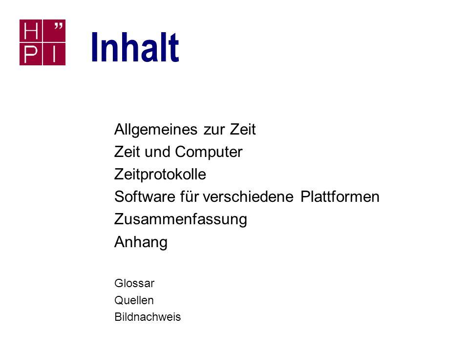 Zeitdienste und Uhrensynchronisation Seminar Systemdienste und Betriebssystemadministration, Prof.