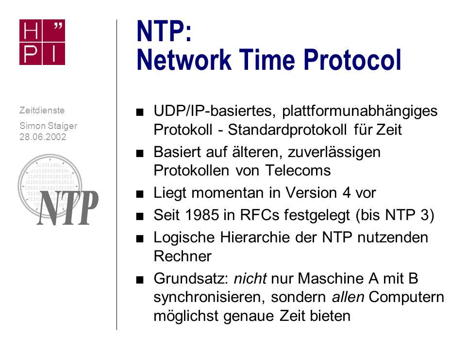Simon Staiger 28.06.2002 Zeitdienste Daytime contd.: Zugriff mit Telnet n In Netzwerkdienste / Simple TCP/IP Services in Windows NT enthalten: