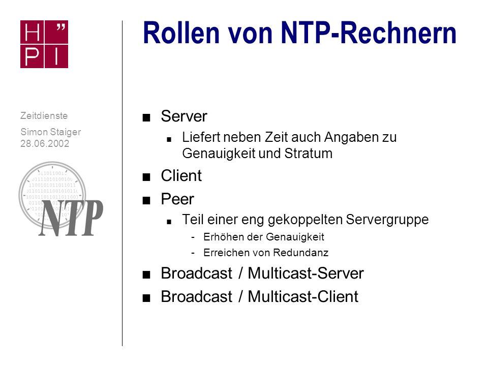 Simon Staiger 28.06.2002 Zeitdienste NTP-Netzwerk: Hierarchie Staiger