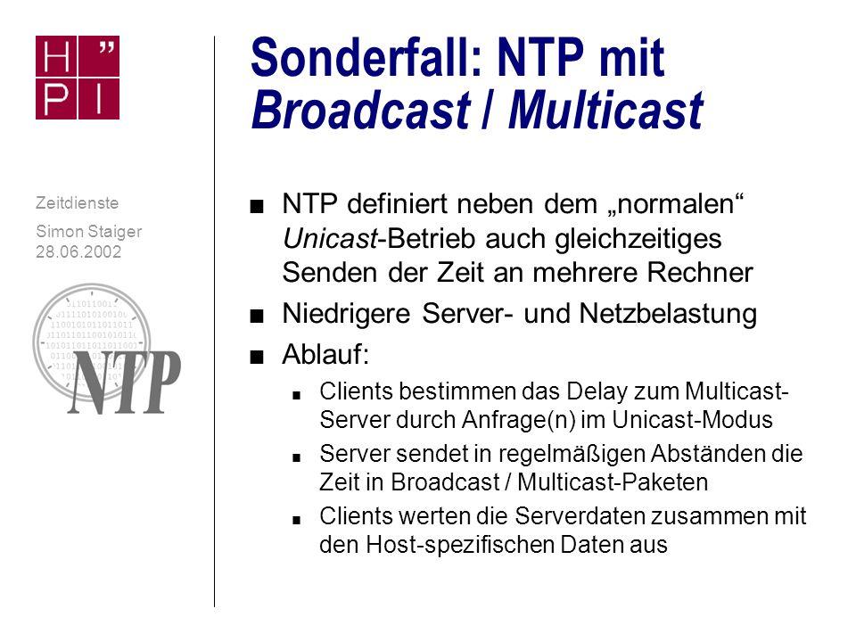 Simon Staiger 28.06.2002 Zeitdienste Rollen von NTP-Rechnern n Server n Liefert neben Zeit auch Angaben zu Genauigkeit und Stratum n Client n Peer n Teil einer eng gekoppelten Servergruppe -Erhöhen der Genauigkeit -Erreichen von Redundanz n Broadcast / Multicast-Server n Broadcast / Multicast-Client