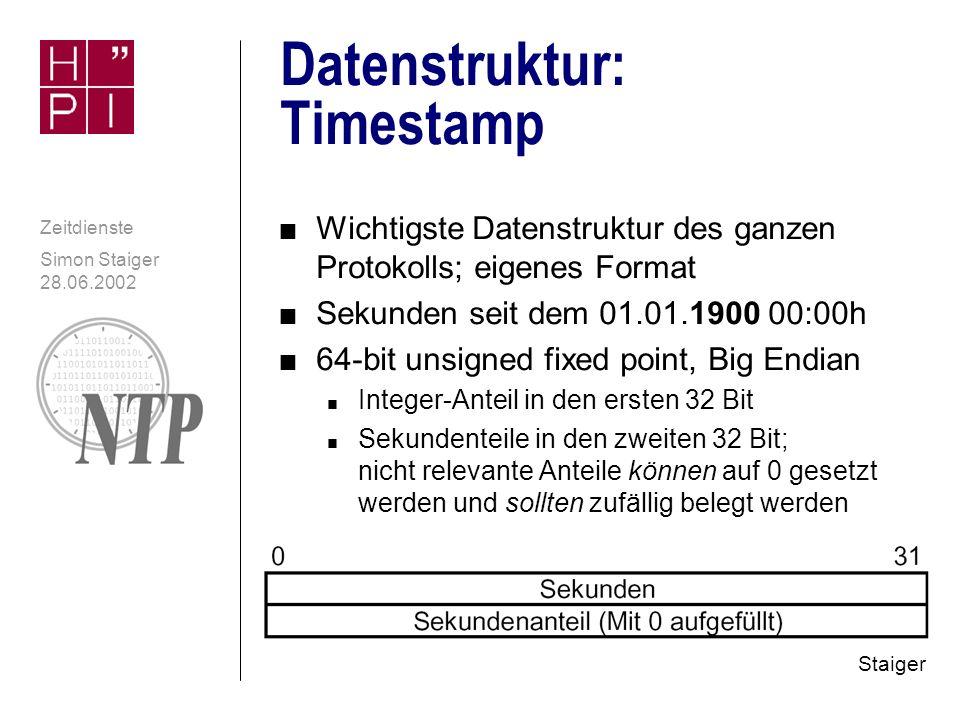 Simon Staiger 28.06.2002 Zeitdienste Realisierung von NTP n UDP/IP, Port 123 n NTP nutzt grundsätzlich Zeitzone UTC zur Synchronisation n Die weitere Darstellung auf der Zielmaschine ist anderer Software überlassen (Zeitzonen, DST,...) n NTP bietet Sicherheitsfunktionen n Verschlüsselung n Authentifizierung (wichtig v.a.