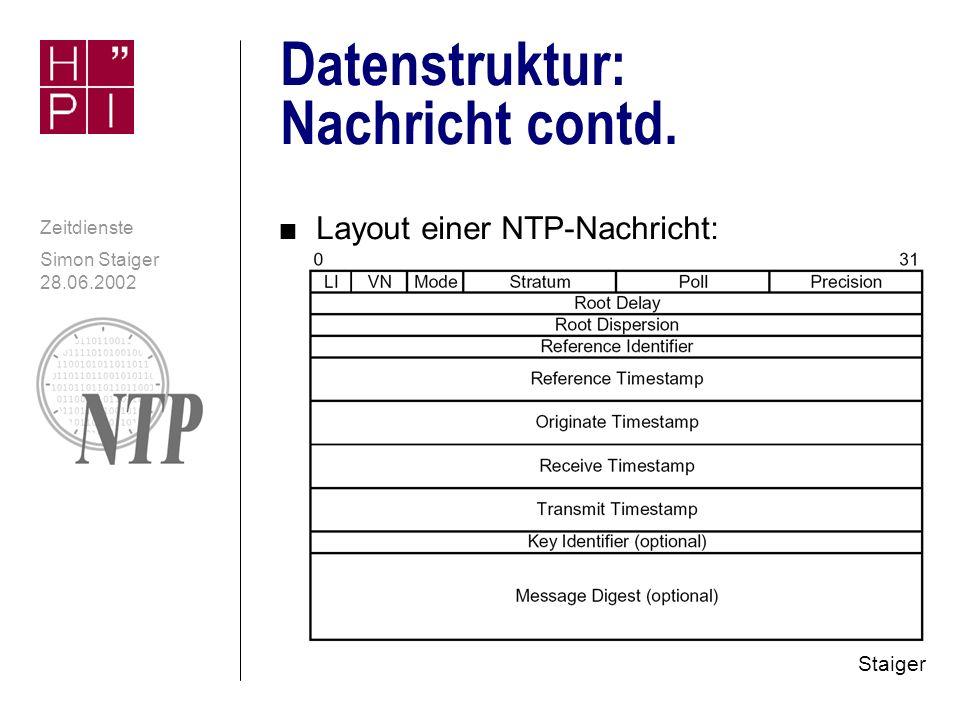 Simon Staiger 28.06.2002 Zeitdienste Datenstruktur: Nachricht n Analogien zu UDP- und IP-Headern n Enthält unter anderem n Indikator Schaltsekunde (beide Richtungen) n NTP-Version und Stratum n Poll Interval n Roundtrip-Delay zu primärer Zeitquelle n Typ der primären Zeitquelle (PTB, GPS, DCF...) n Zeitstempel -Reference: Letztes Stellen der Serveruhr -Originate: Zeitpunkt zu dem Anfrage Client verließ -Receive: Zeitpunkt zu dem Server Anfrage erhielt -Transmit: Zeitpunkt zu dem Antwort abgesendet wurde