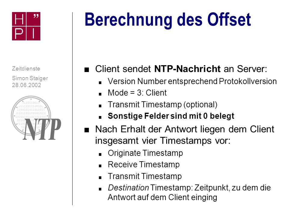 Simon Staiger 28.06.2002 Zeitdienste Datenstruktur: Nachricht contd.